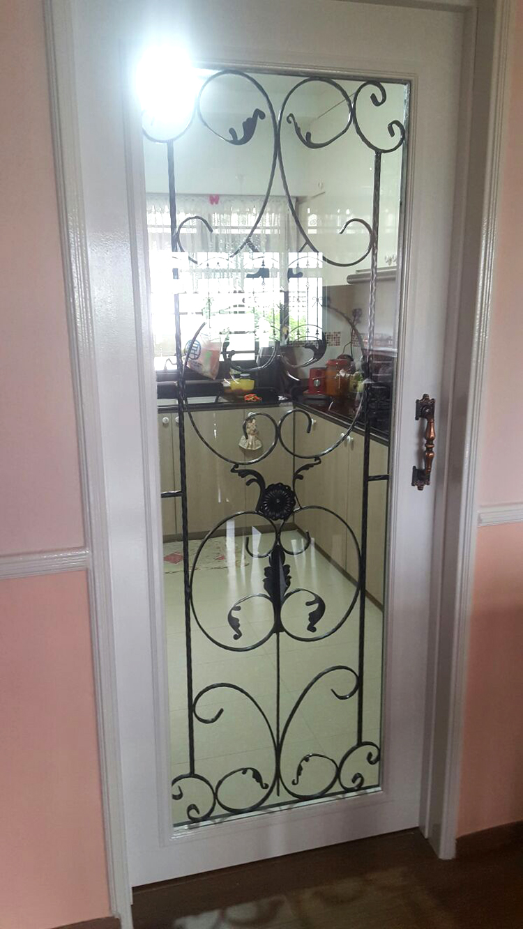 Door with Wrought Iron and Glass